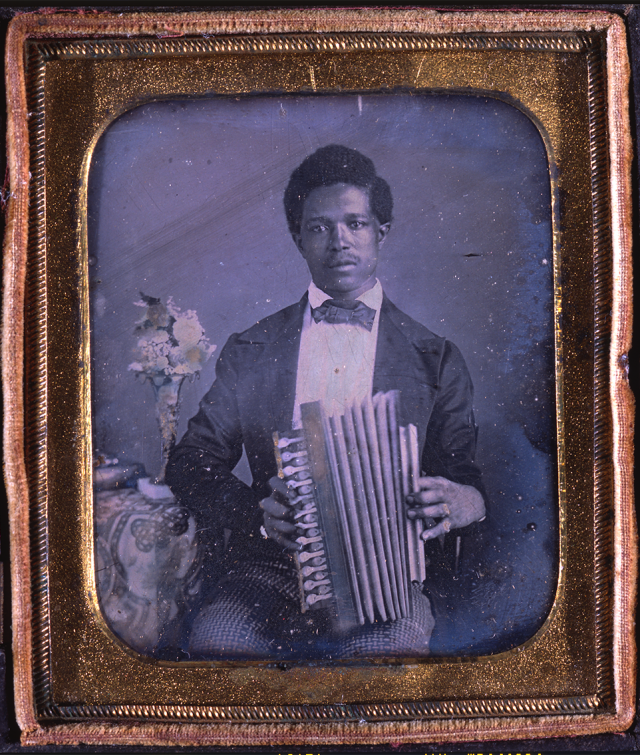 Man with accordion, unknown photographer, ca. 1855, daguerreotype, Louisiana State Museum 09952.3.