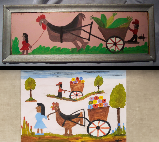 """Top Image: """"Chicken Pulling a Cart,"""" William Toye, ca. 2009.  Loaned by the Federal Bureau of Investigation, Bottom Image: """"Gooster Pulling a Cart of Gourds,"""" Clementine Hunter, ca. 1975.  Loaned by Thomas N. Whitehead."""